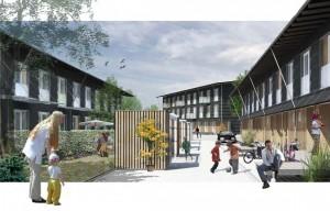 Rendering of exterior space around buildings
