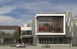 Exterior rendering of entrance and threatre